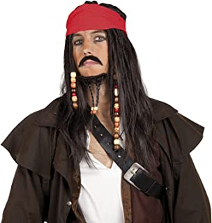(Pirat Perucke Mit Bart 86343) - Pirate Jack Sparrow Style Wig with Beard, Moustache and Bandana