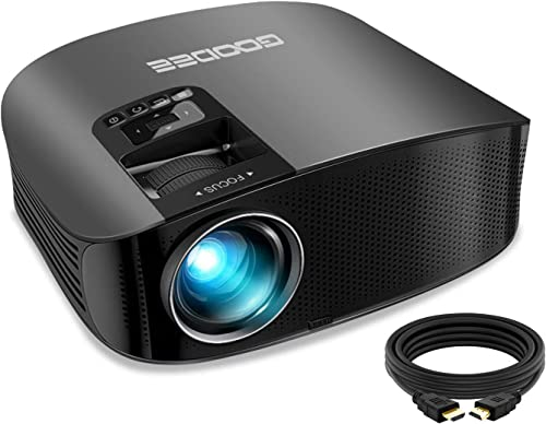 "Projector, GooDee 2021 Upgrade HD Video Projector 6800L Outdoor Movie Projector, 1080P and 230"" Support Home Theater ..."