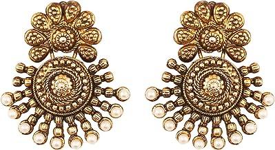 Touchstone Indian Bollywood - Pendientes de joyería tradicional inspirados en Bahubali de oro antiguo del sur de Bahubali