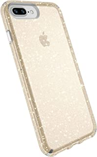 Speck Products Presidio Clear + Glitter Case for iPhone 8 Plus (Also fits 7 Plus and 6S Plus/6 Plus), Clear With Gold Glitter/Clear