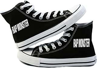 BTS High-top Sneakers Bangtan Boys Shoes SUGA Jimin J-Hope JIN V Black Canvas Shoes