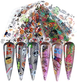 Halloween Nail Stickers Foil Transfer Design 10 Sheets Nail Art Foil Wraps Tattoo Paper Pumpkin Spider Skull Ghost Nail Decals for Women Manicure Tips Decoration Halloween Party Favors Supplies