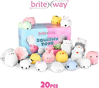 BRITENWAY Adorable Mini Squishies Gift Set for Kids & Adults | Soft & Super-CuteAnimalSquishy Toys | ColorfulKawaii Squishies for Stress & Anxiety Relief | Improve Focus &Productivity | 20 Pc