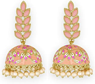Pink Peacock White Pearl Earrings For Women /& Girls By Gahnemall