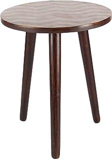 "Deco 79 66186 18""/22"" Wood Round Accent Table, 18"" x 22"", Dark Brown"
