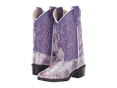 Old West Kids Boots Lottie (Toddler/Little Kid) (Silver Gliiter) Cowboy Boots