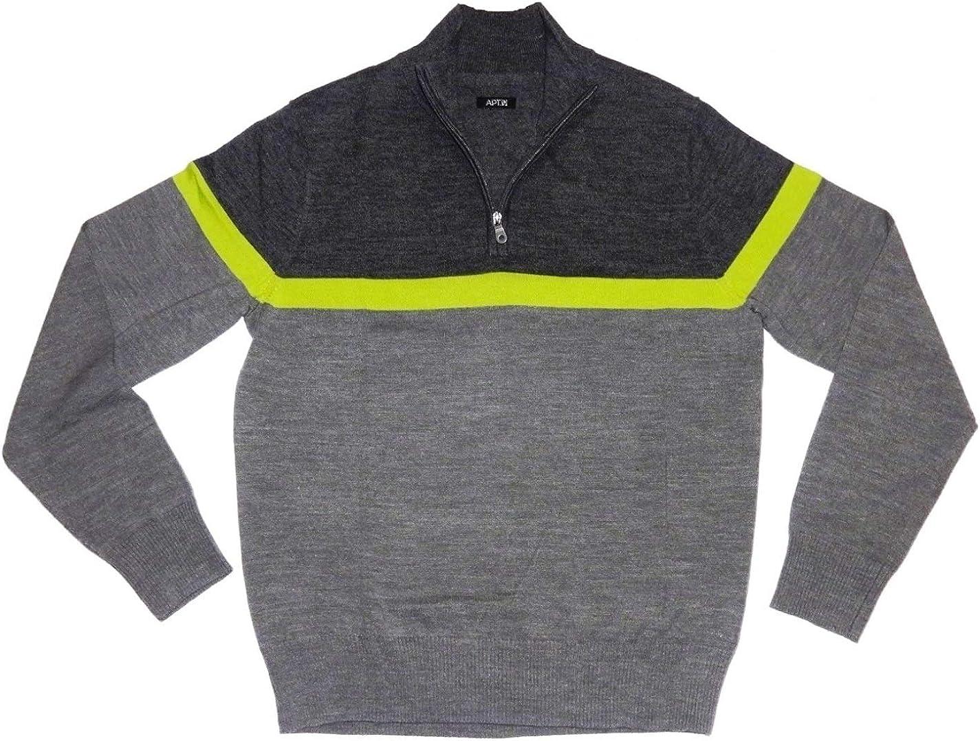 Liz Claiborne's Apt 9 Men's Merino Wool Blend Sweater 1/4-Zip Charcoal Grey Stripe