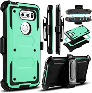 LG V30/LG V30 Plus Case,Heavy Duty Shockproof[Double Kickstand][Belt Swivel Clip] Dual-Layer Full-Body Armor Rugged Protection Carrying Case with Built-in Screen Protector(Free Touch Stylus) (Aqua)