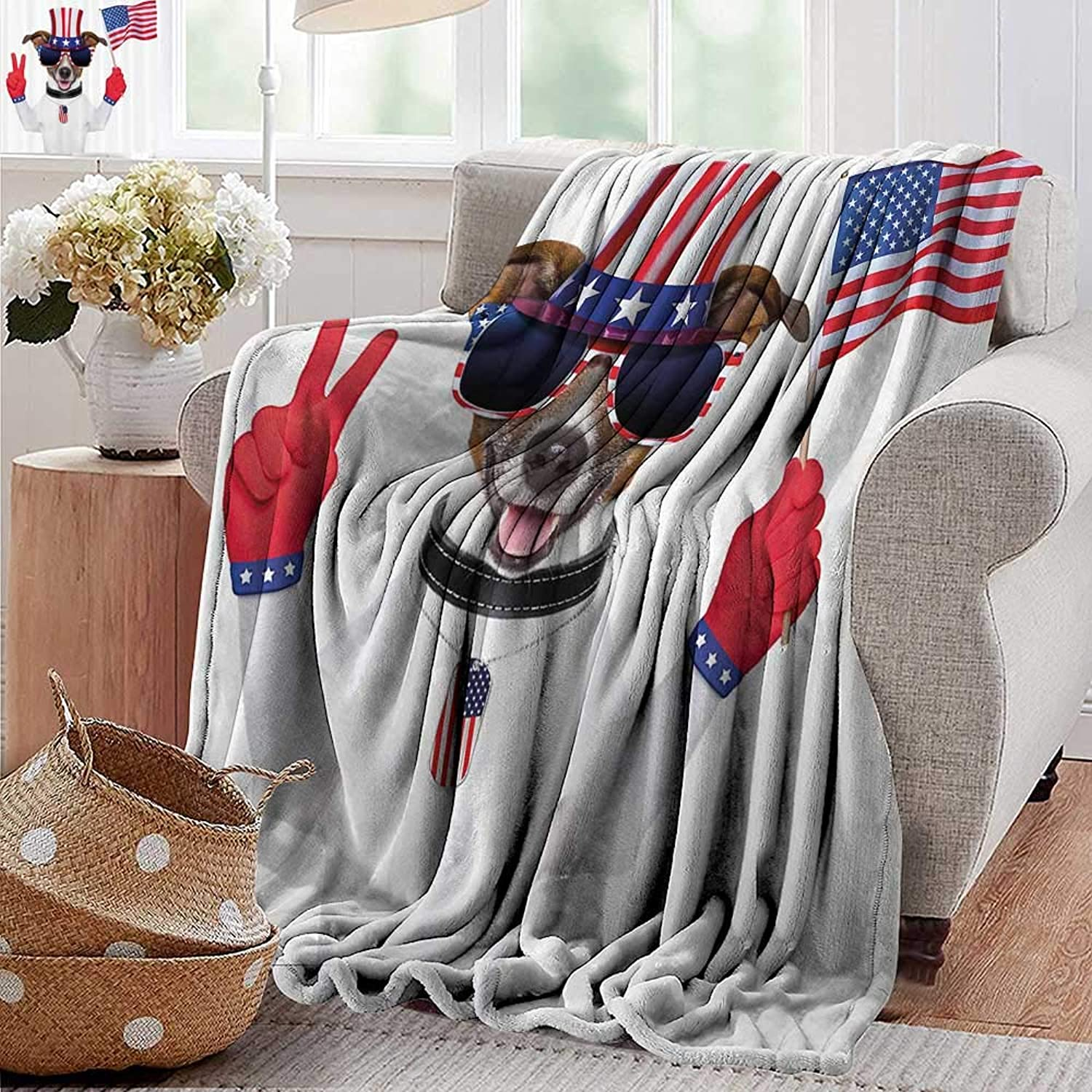 Weighted Blanket for Kids,4th of July,Funny Pet Dog with an Uncle Sam Hat Holding a Peace Sign and an American Flag,Multicolor,Weighted Blanket for Adults Kids, Better Deeper Sleep 35 x60