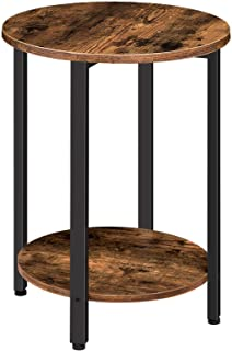 HOOBRO Round Side Table, Sofa Couch Table with Storage Shelf, 2-Layer Industrial End Table, Stable Metal Frame, Wood Look ...