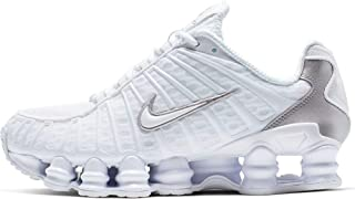 W Shox Tl Womens Sneakers AR3566-100, White/Metallic Silver-Max Orange, Size US 8
