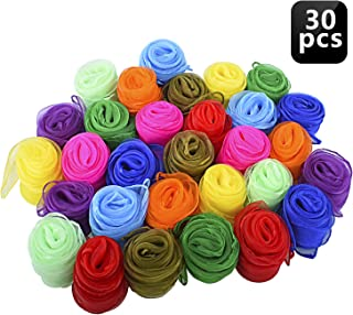 Blovec Juggling Scarves for Kids, 30 pcs Square Dance Scarf Magic Movement Scarves Performance Props Accessories 24 by 24 Inch in 10 Colors