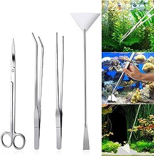 Cleaning Tools - 4-Piece Aquarium Tank Aquascaping Tools Aquarium Scissor Tweezers Tool Stainless Steel Aquarium Maintenan...