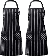 Syntus 2 Pack Adjustable Bib Apron with 3 Pockets Cooking Kitchen Aprons for Women Men Chef, Black/White Pinstripe