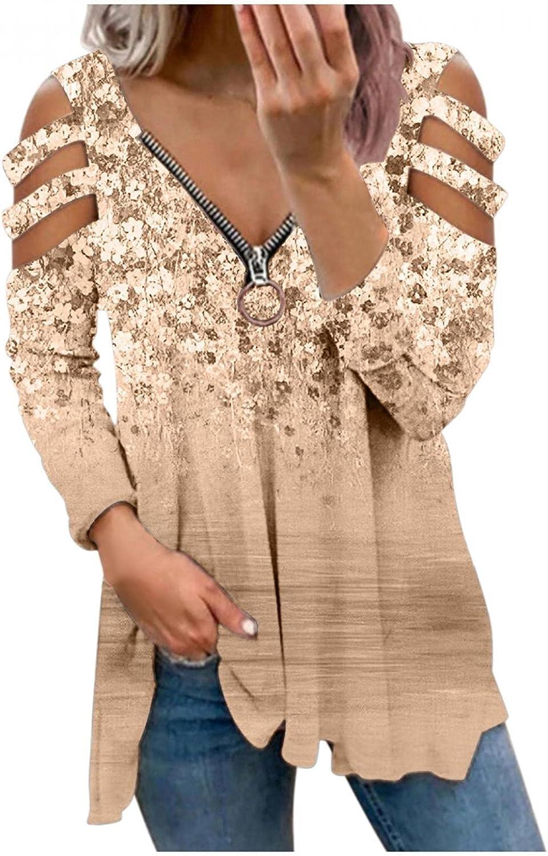Womens Long Sleeve Tops,Women Zip Up Sweatshirts Aesthetic Off Shoulder Long Sleeves Flower Graphic Shirt Pullover