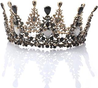 Handcess - Tiara per matrimonio, con strass, stile regina, stile vintage, per sposa e damigella d'onore, colore: Nero