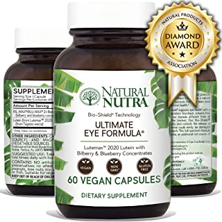 Natural Nutra Ultimate Eye Formula with Lutemax 2020, 10mg of Lutein, 500mg of Blueberry and Bilberry Extract, Macular Degeneration and Night Vision Supplement, Award Winning Formula, 60 Capsules