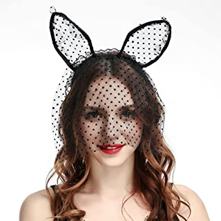 Lace Cat Ear Headbands with Veil Lace Hair Hoops for Costume Party Cosplay Masquerade Headpiece Nightclub