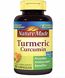 Nature Made Turmeric Curcumin 500 milligram. Capsules (Antioxidant) Value Size 180 Ct