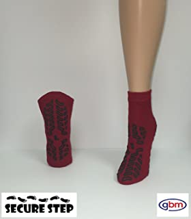 Secure Step Double-Sided Non Slip Comfort Safety Sock - Red - Large (2 Pair) - Men's Size: 6-7 / Women's Size: 7-8