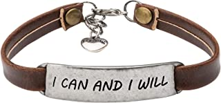 Motivational Jewelry Gift Leather Bracelet for Women Inspirational Jewellery Vintage Brown Color