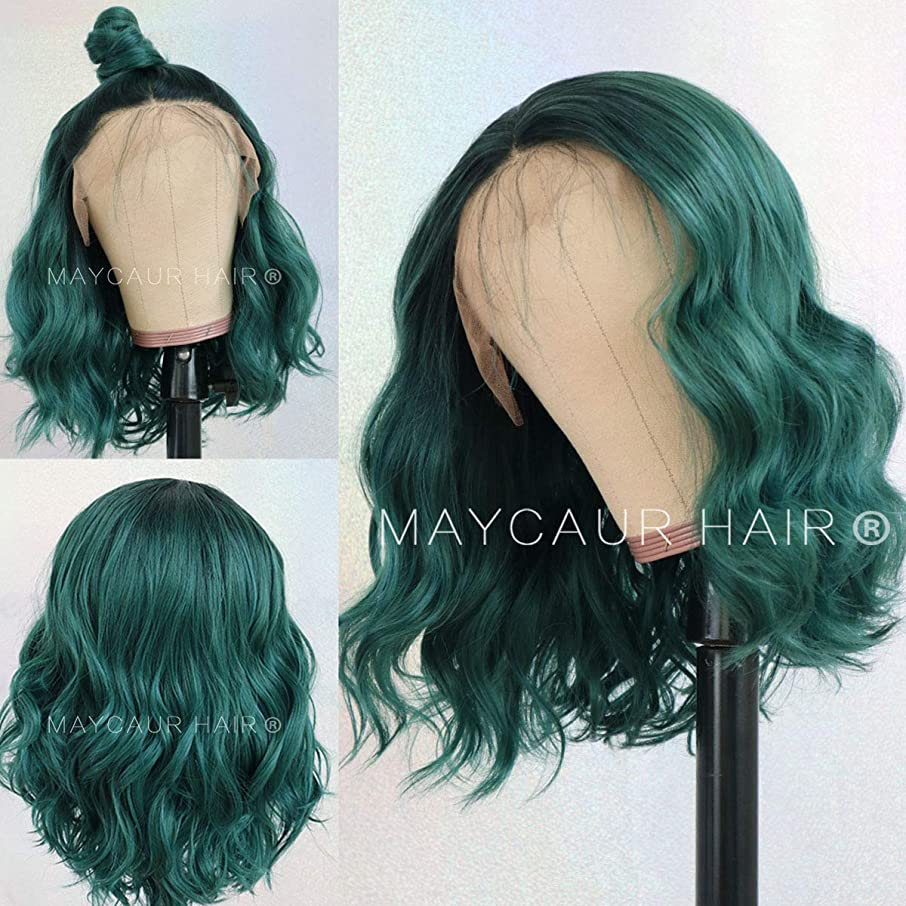 Maycaur Black Green Short Bob Hair Synthetic Lace Front Wig Short Wavy Wigs with Natural Hairline For Women Glueless Heat Resistant Fiber Hair