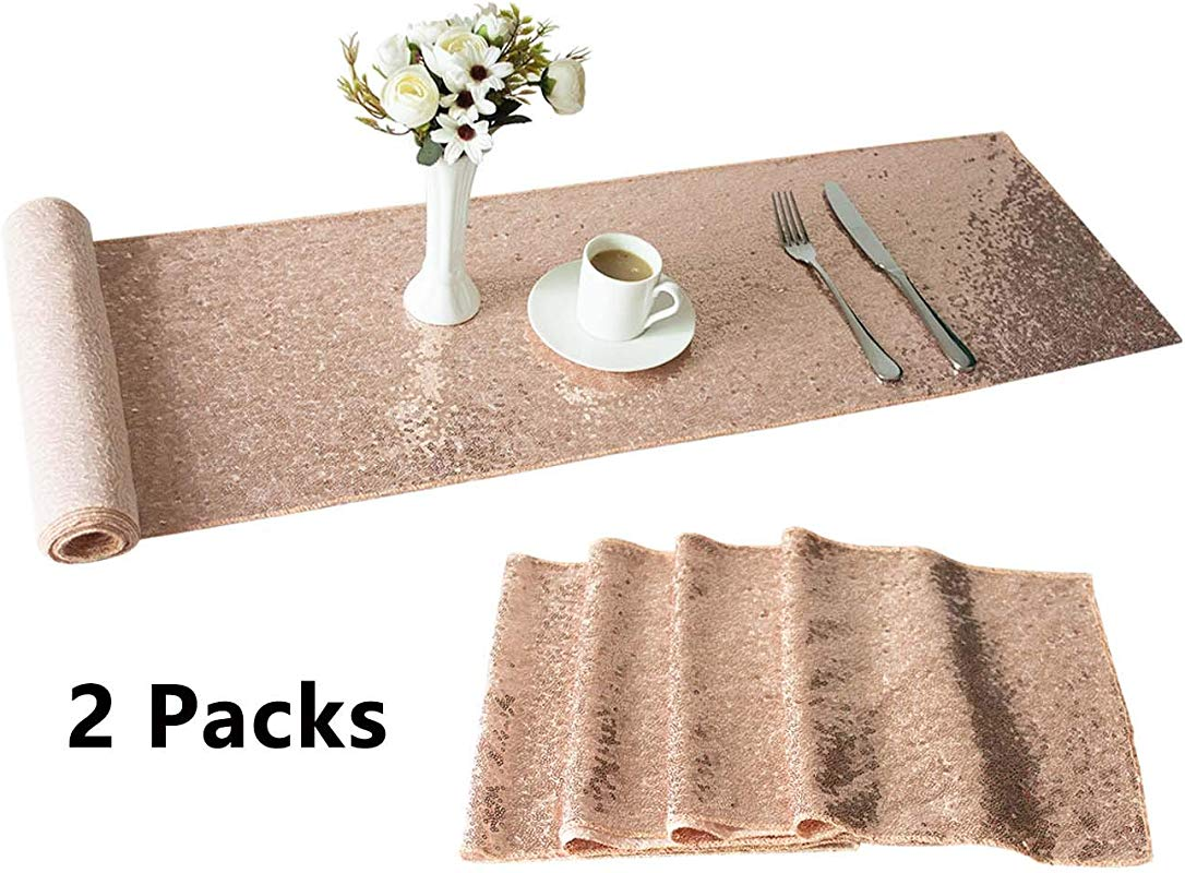 ANSOMO 2 Pack 12 X 108 Inch Rose Gold Sequin Table Runners For Wedding Birthday Baby Bridal Shower Glitter Fabric Party Supplies And Decorations