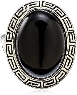 PammyJ 大号银色设计和黑色椭圆弹力戒指