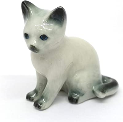ZOOCRAFT Hand Painted Porcelain Miniature Collectible Ceramic Siamese Cat Figurine