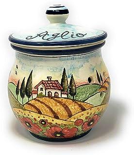 CERAMICHE D'ARTE PARRINI- Ceramica italiana artistica, barattolo aglio decorazione paesaggio girasole, dipinto a mano, mad...