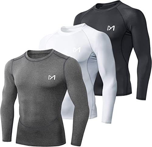 MEETYOO Tee Shirt Compression Homme Manche Longue, Baselayer Maillot Running Vetement Fitness pour Sports Jogging Mus...