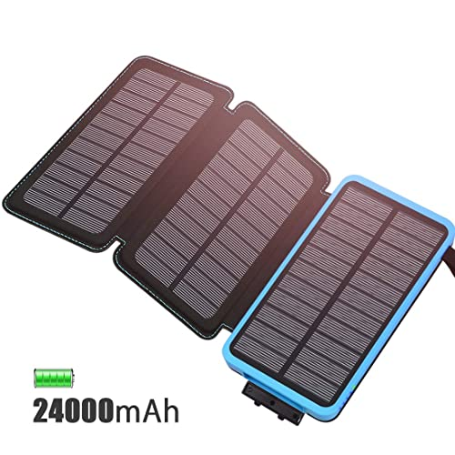 FEELLE Solar Charger 24000mAh Solar Power Bank with 3 Solar Panels Fast Charge(Solar Energy) Portable External Battery with 2A Input USB 2.1A Compatible with Smartphone, Tablet, Outdoor Waterproof