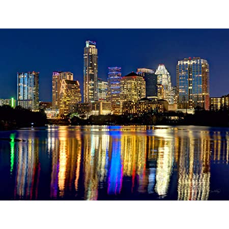 Amazon Com Austin Skyline Photo Print Unframed Night Color City Downtown 18 Inches X 24 Inches Photographic Panorama Poster Picture Standard Size Austin Texas Posters Prints