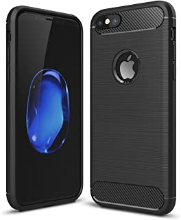 iPhone 7 Plus/8 Plus Shockproof Silicone Light Carbon Fiber Brushed Grip Back Protective Case Cover for Apple iPhone + Film Screen Protector (Black)