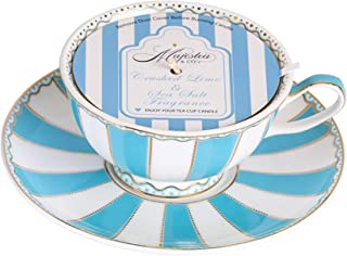 Scented Soy Candle in a Blue Striped Tea Cup with Saucer, Tea Cup, Candle, Candles, Tea cups and saucers sets, Tea Cups, Tea Set, Scented Candle, Gift Idea, Women Gift Idea, Present, Christmas