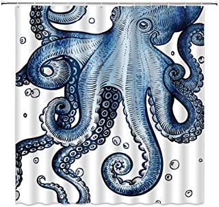Octopus Shower Curtain, Vintage Ocean Kraken Sea Monster Tentacles Marine Life with Bubbles Fabric Bathroom Decor Sets with 12 Hooks,71X71 Inchs,White Blue…