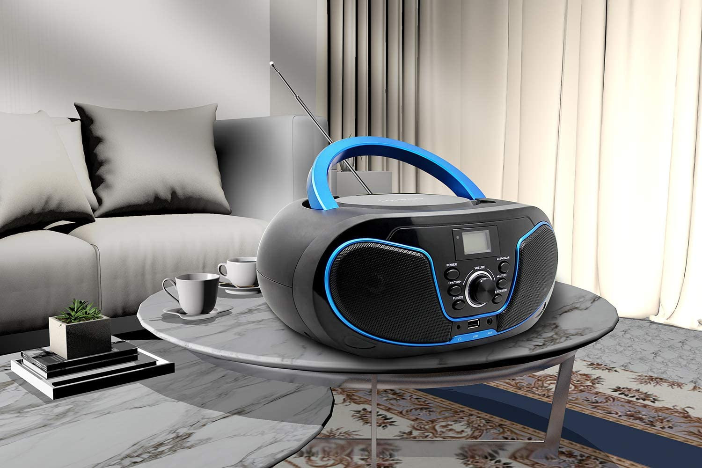 LONPOO Portable CD Player Boombox FM Radio Bluetooth MP3 CD Player ...