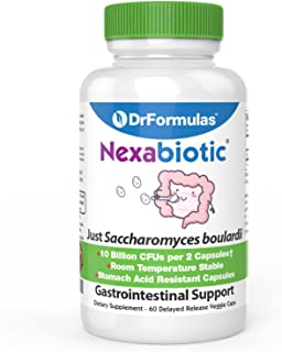DrFormulas Saccharomyces Boulardii Probiotic 10 Billion CFUs | Nexabiotic S boulardii, Immune and Digestive Support Supple...
