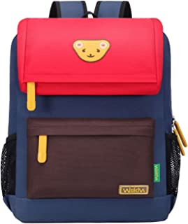 Willikiva Cute Bear Kids School Backpack for Children Elementary School Bags Girls Boys Bookbags (Red/Coffee/Royalblue, Large)