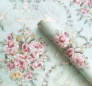 UPREDO Vintage Light Green Rural Rose Adhesive Paper Shelf Liner Funitures Dresser Drawer Cabinet Decor 17.7 Inch by 100 Inch