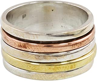 NOVICA .925 Sterling Silver Copper and Brass Tri Tone Metal Meditation Spinner Ring 'Sleek Simplicity'