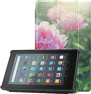 Pokrowiec na tablet dla nastolatków różowe kwiaty piwonie kwitnące 9. generacji Fire 7 etui na tablet Fire 7 (9. generacj...