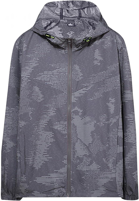 Mens Hooded Coats Long Sleeve Full Zipper Hoodies Outwears Lightweight Breathable Windbreaker Tops Soft Cozy Blouse