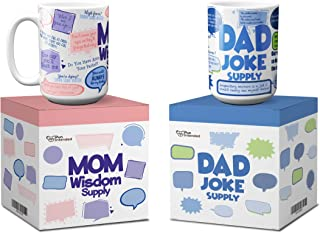 Funny Coffee Mugs   Mom Wisdom Supply & Dad Joke Supply   15 Oz with Beautiful Gift Box   Best as Gift for Valentine's Day, Birthdays, Christmas, from Daughter, Son, or Husband. Novelty, Porcelain