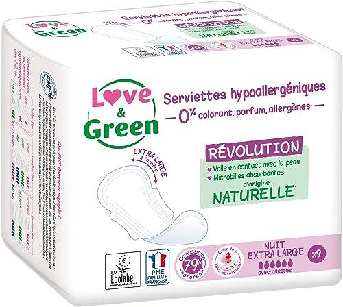 """Love & Green Serviettes Hypoallergéniques """"Nuit Extra Large"""" - Paquet de 9 serviettes"""