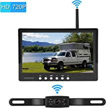 Emmako Digital Wireless Backup Camera System With 7'' Monitor For Cars,Pickups,Trucks,Campers,Super Night Vision Adjustable Rear/Front View Licence Plate Camera,Guide Lines On/Off,IP69K Waterproof