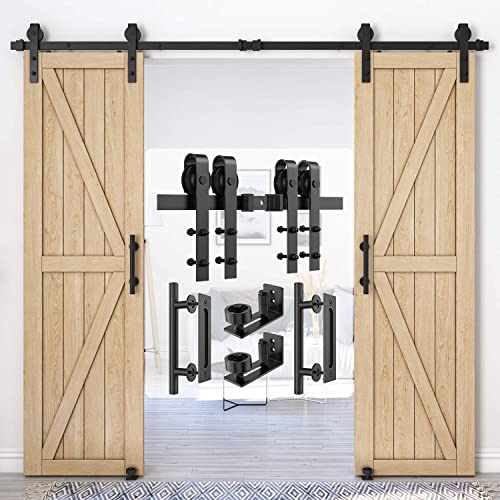 Homlux 8ft Heavy Duty Sturdy Sliding Barn Door Hardware Kit Double Door Whole Set Include 2X Round Door Handle, 2X Fl...