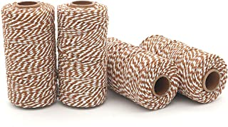 WINGONEER 4pcs 100M Wine String, Durable Cotton Baker's Twine Heavy Duty Cotton Crafts Twine 2 mm for Packing Twine String Decorations - Brown + White