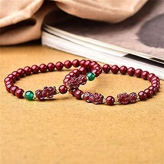 Natural Purple Gold Sand Feng Shui Wealth Pixiu/Piyao Bracelet Women's Adjustable Reiki Healing Chakra Meditation for Good...