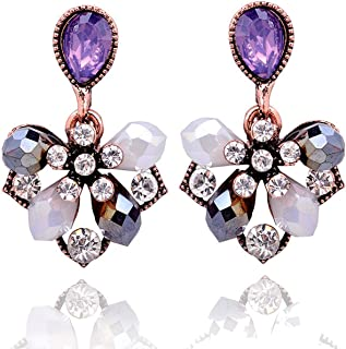 1 Pair Elegant Flower Petals Stud Earrings Women Rhinestone Earrings Party Jewelry Gift Girlfriend